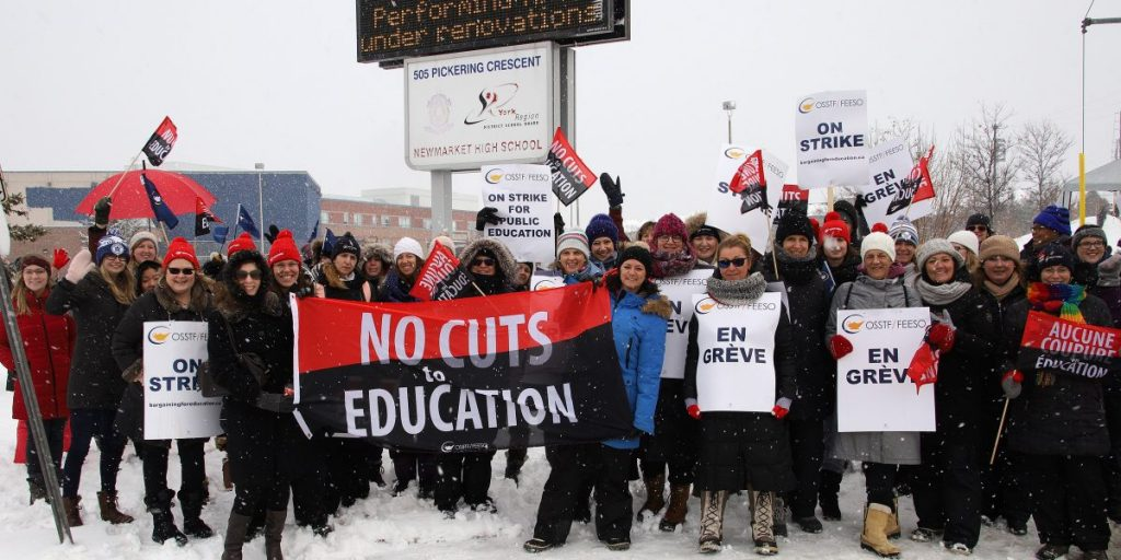 Group of OSSTF protestors outside of a York Region high school