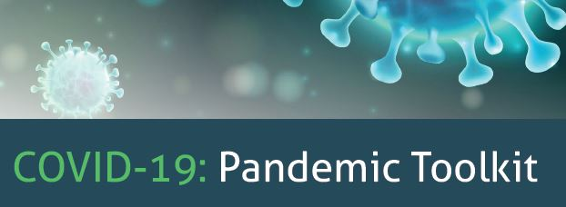 COVID-19: Pandemic Toolkit text with image of virus in background