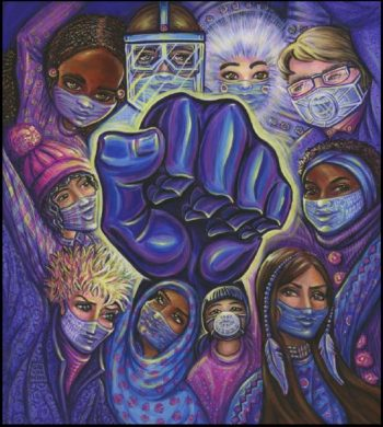 solidarity fist surrounded by women