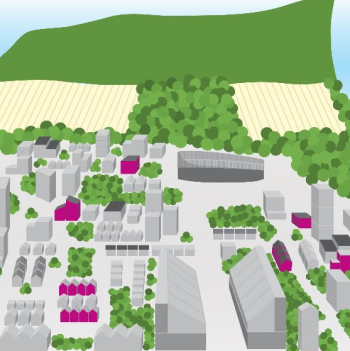 drawing of buildings and escarpment